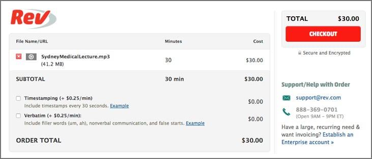 Rev Transcription Pricing