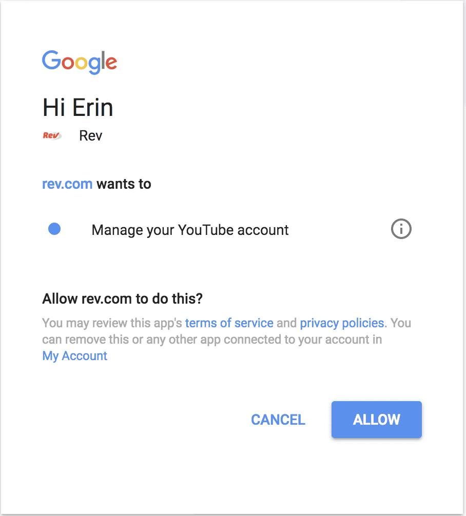 authorize YouTube with Rev.com
