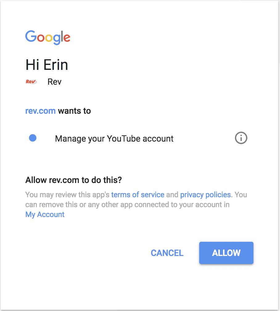 authorize YouTube with Rev.com