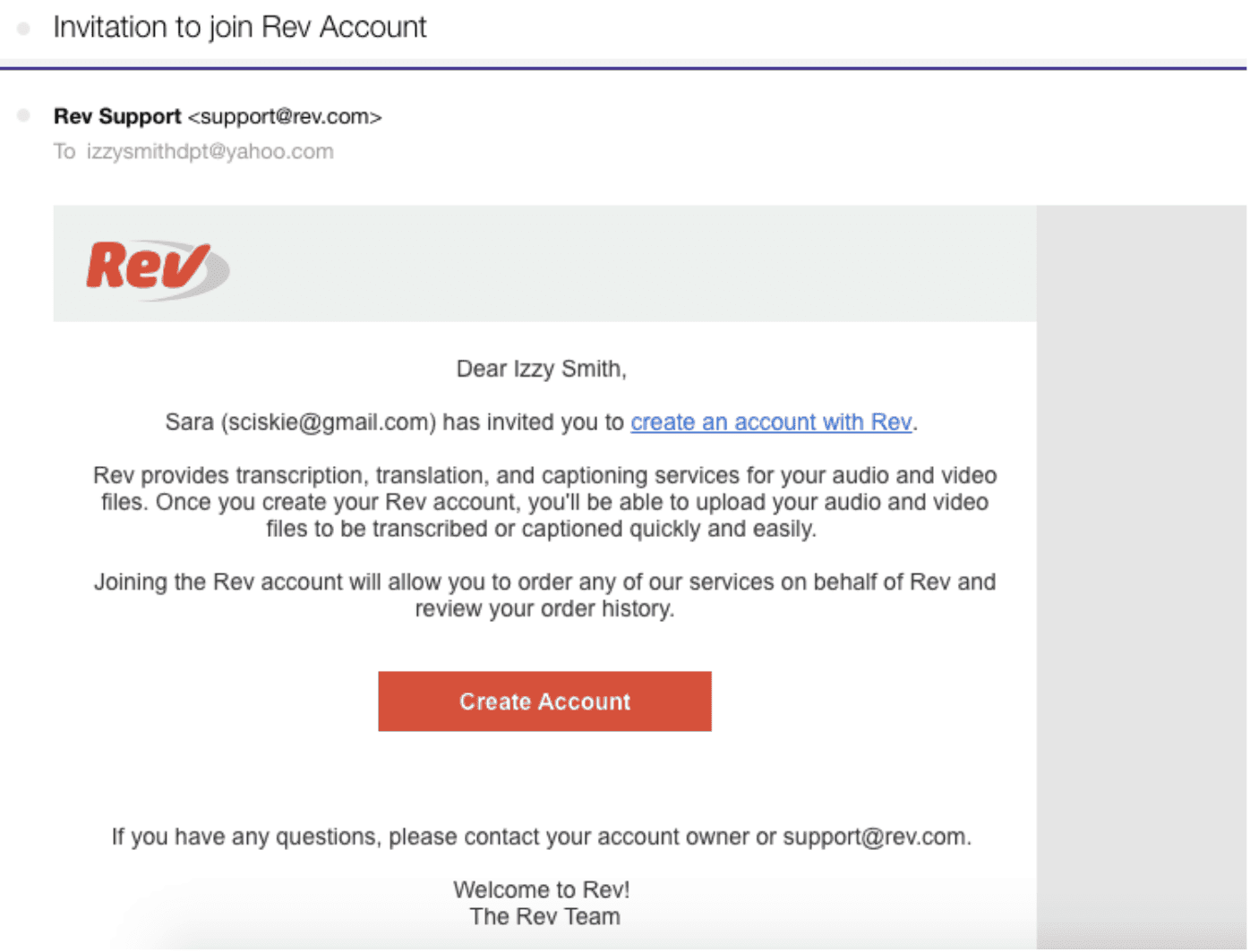 Invitation to join Rev Account email example