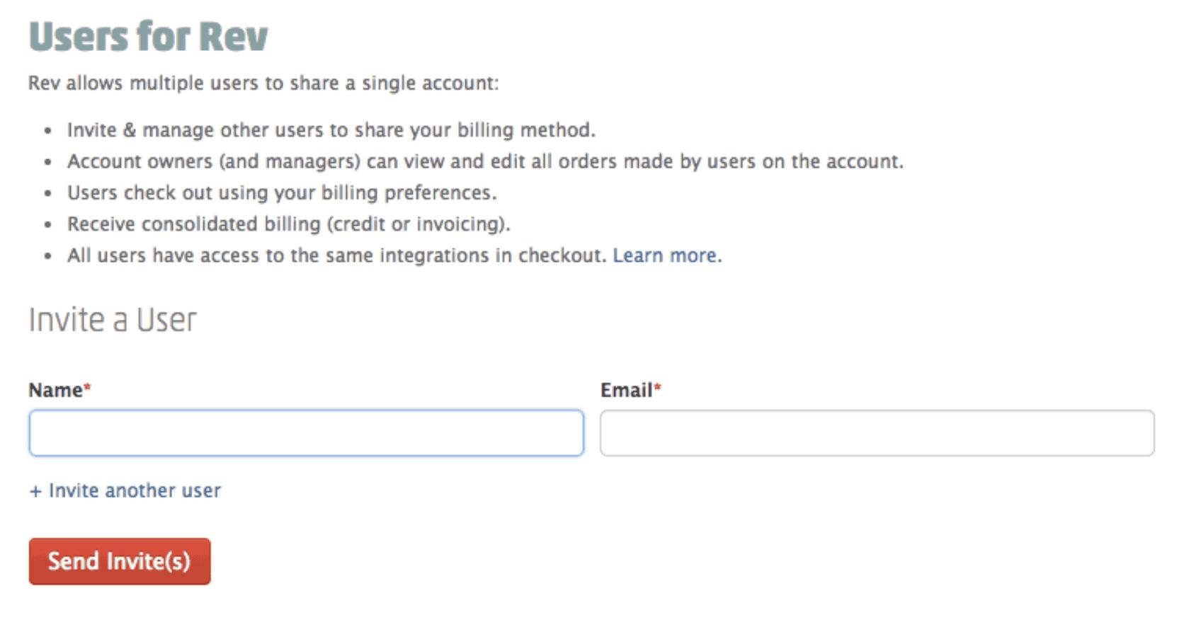 Invite users to Rev Account