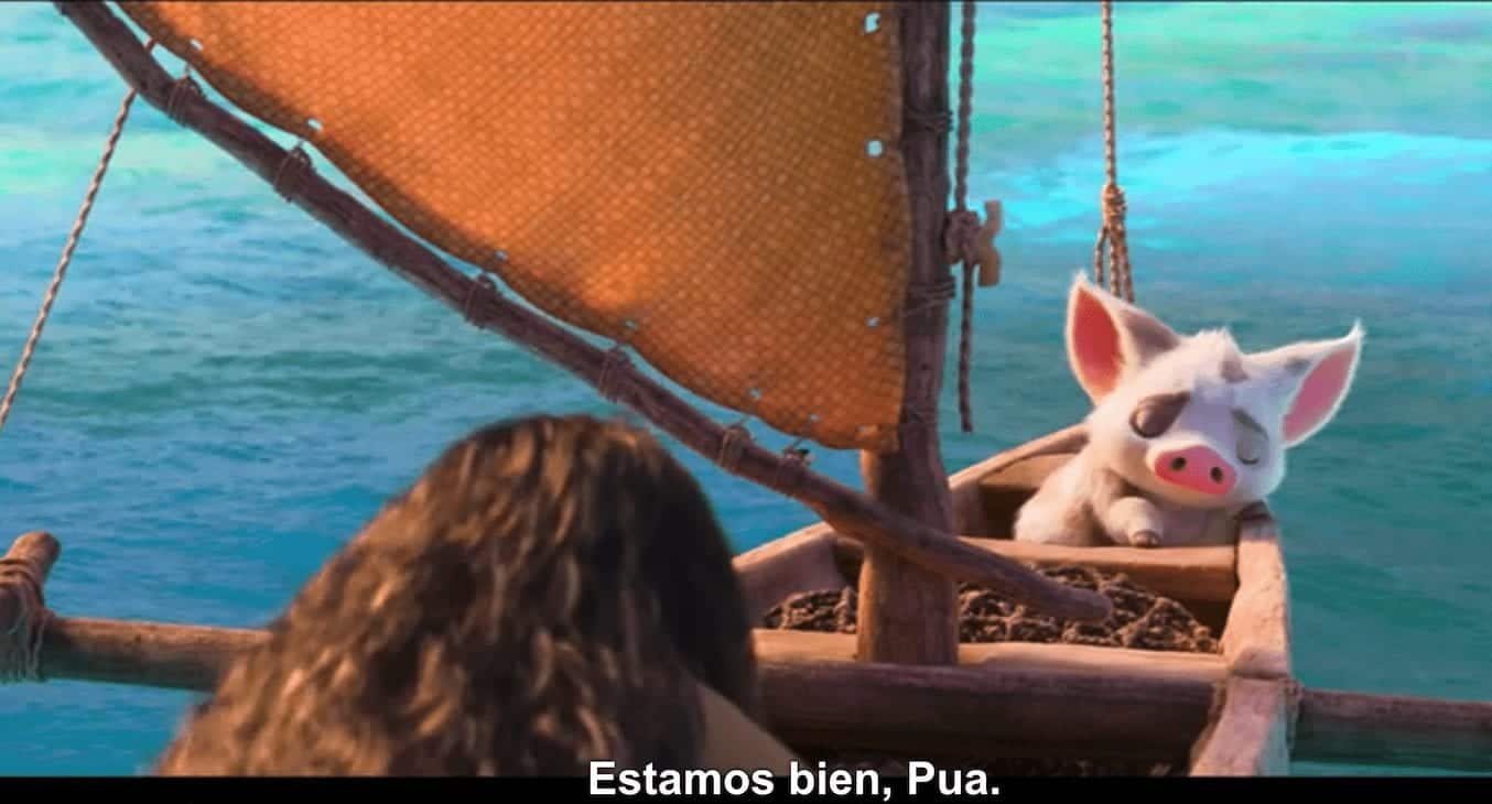 Example of subtitles Moana