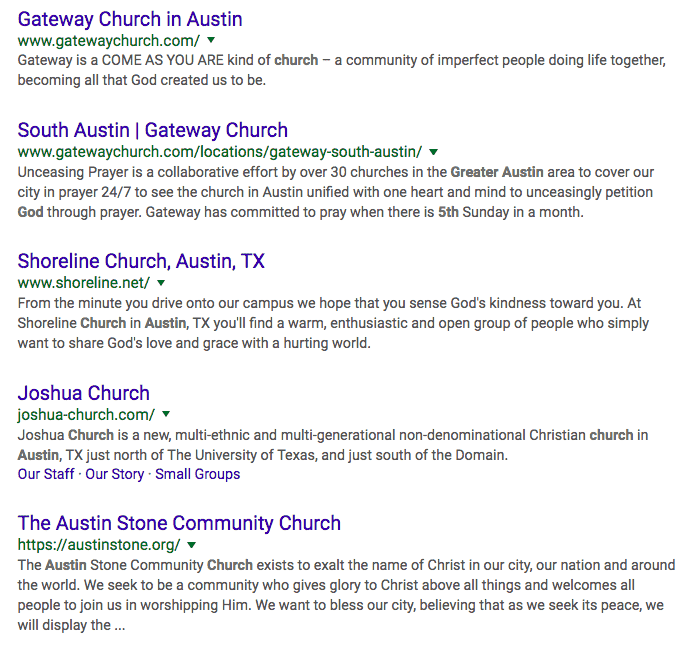 Google SEO Content for churches