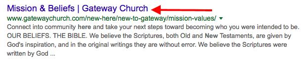 optimized church SEO description