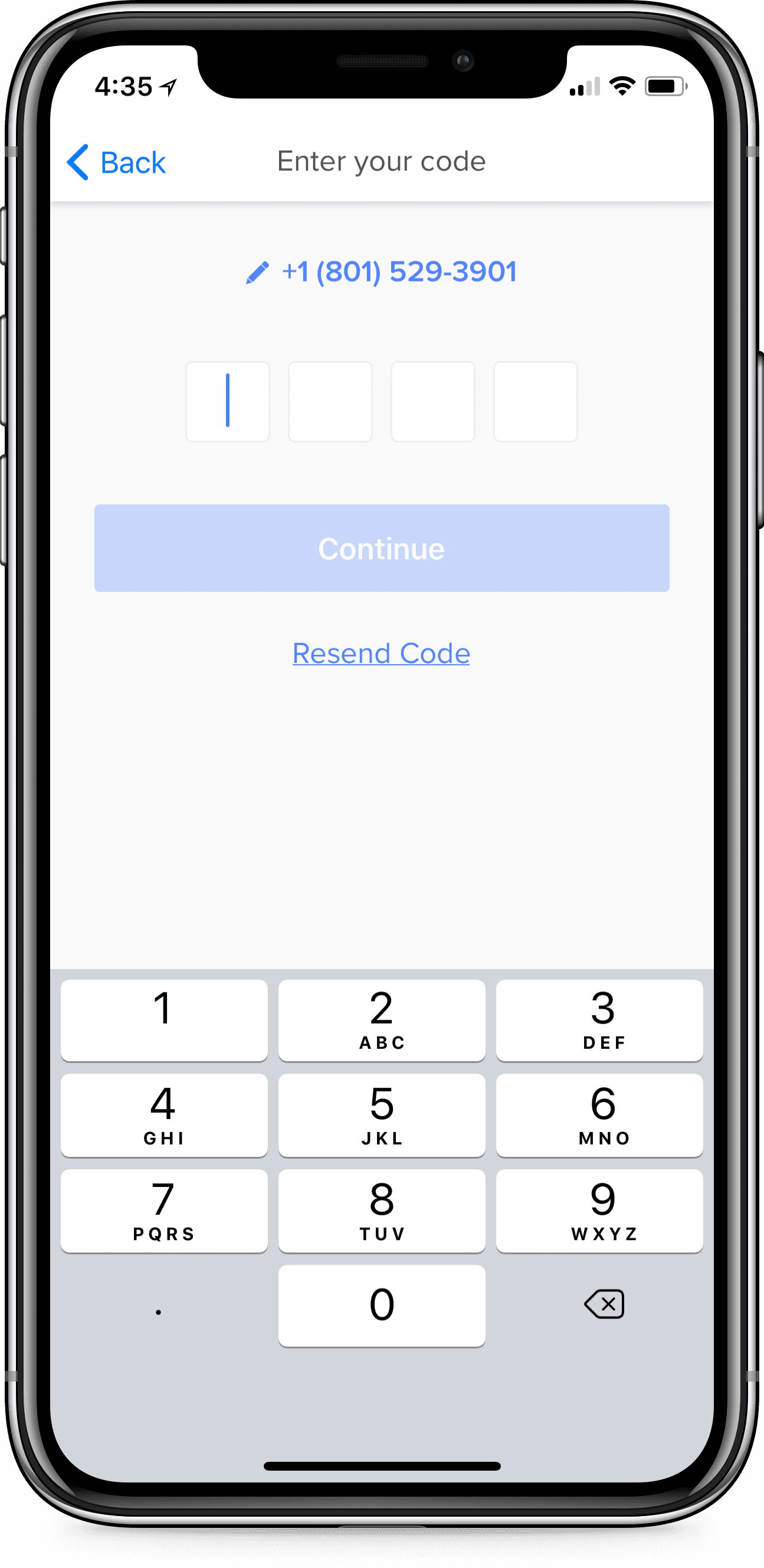 iPhone prompting a request for a 4-digit verification code