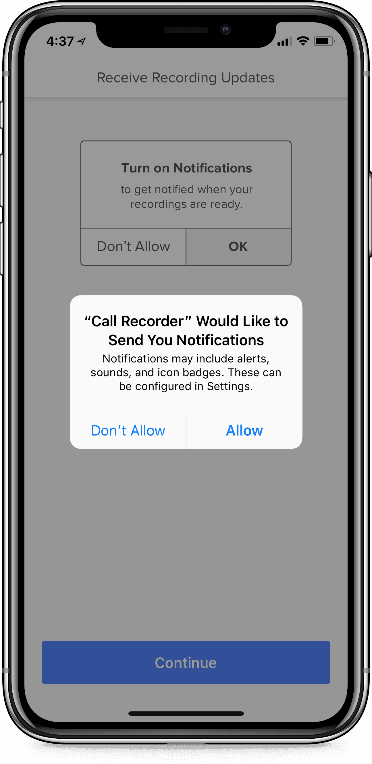 iPhone displaying Rev Call Recorder app and a green Start Recorded Call button