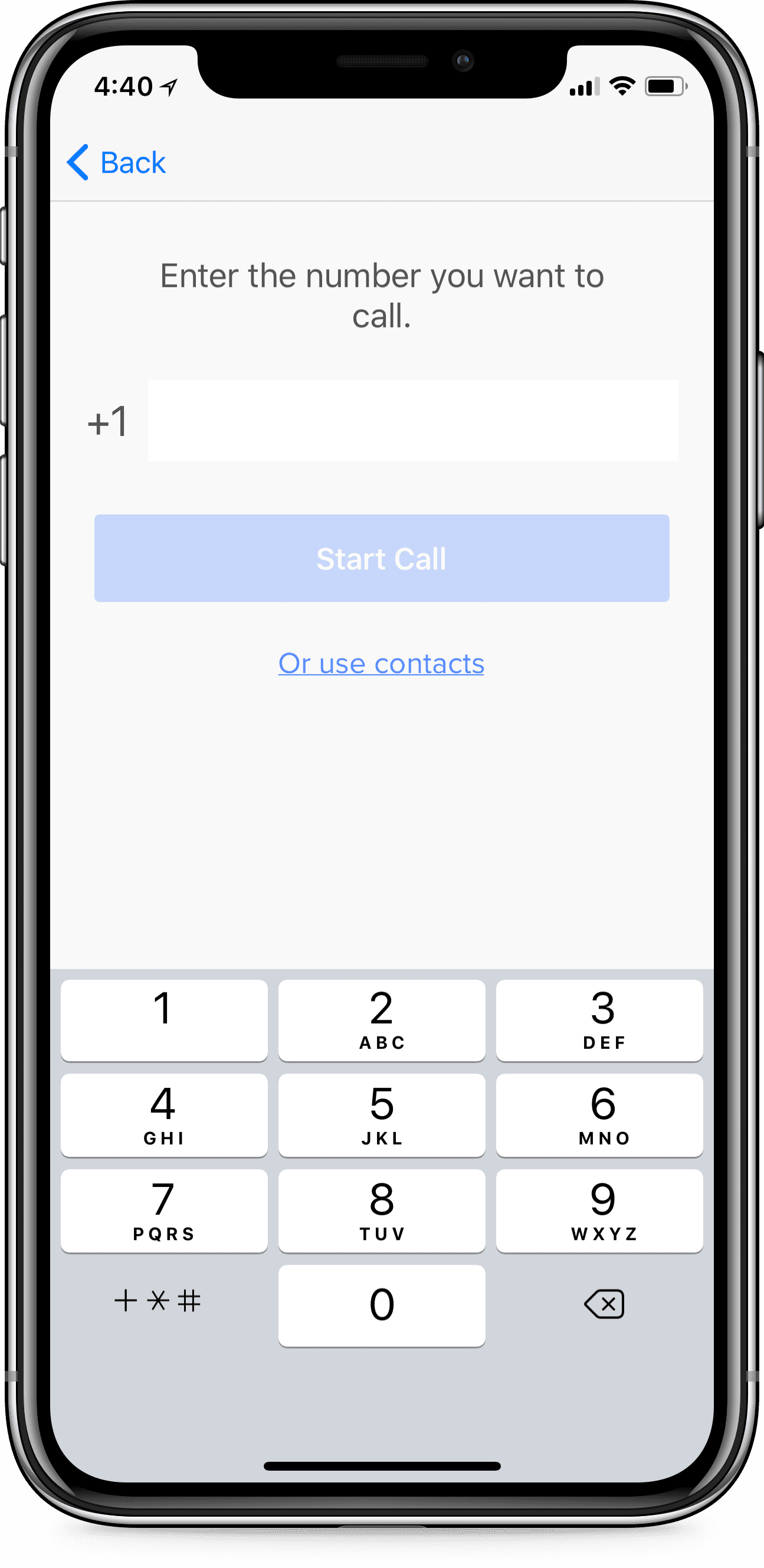 iPhone using Rev Call Recorder app with screen reading Enter the number you want to call