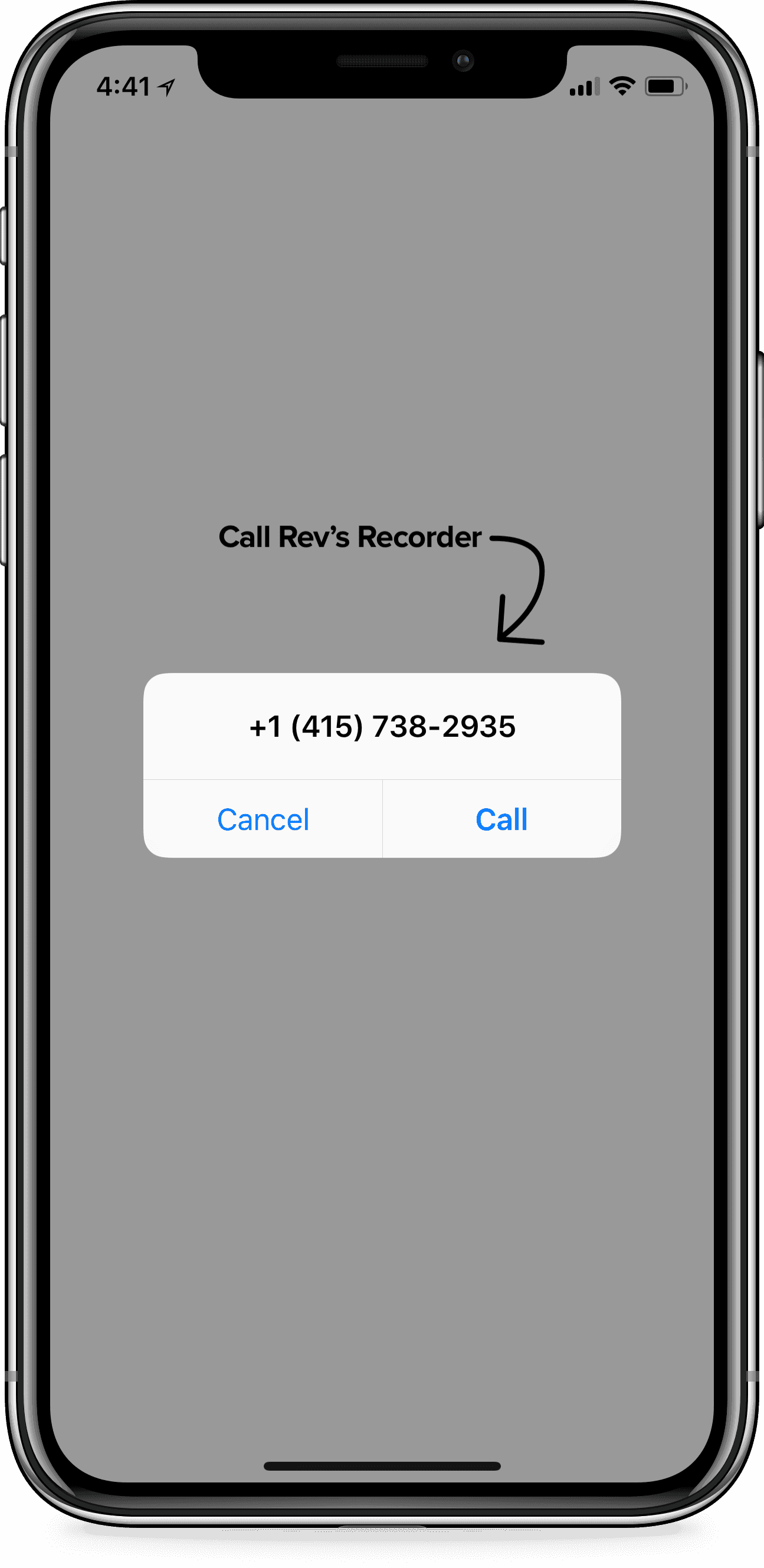 iPhone using Rev Call Recorder app with screen prompting to Call Revs Recorder