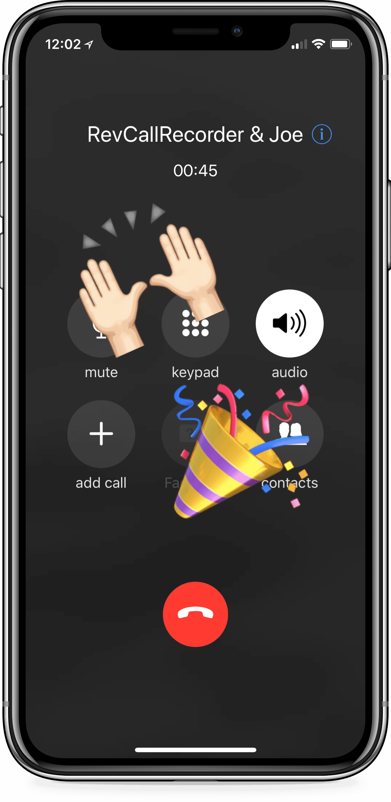 iPhone using Rev Call Recorder app with screen showing the hands raised and celebration emoji