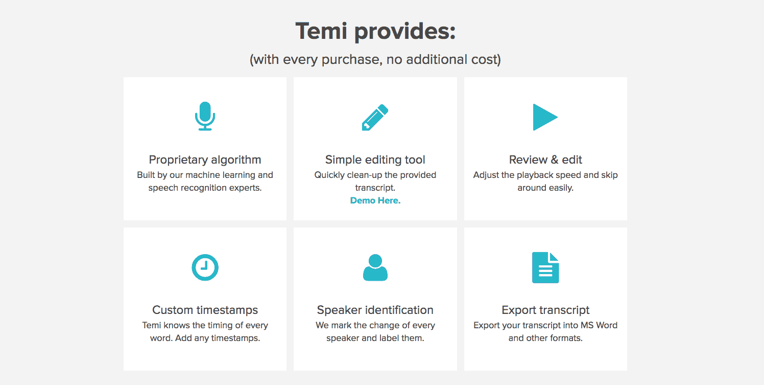 Temi automatic transcription features