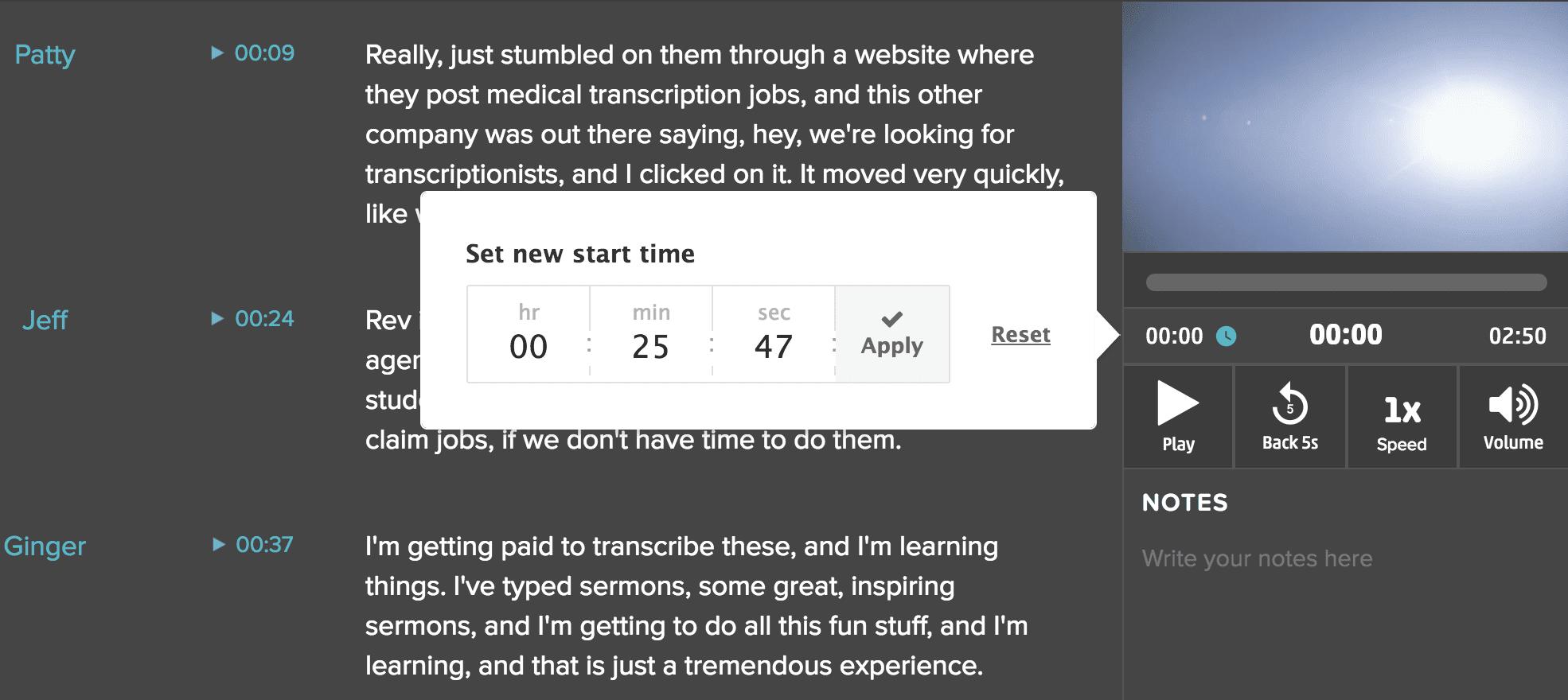 Custom Start Time Rev Transcripts