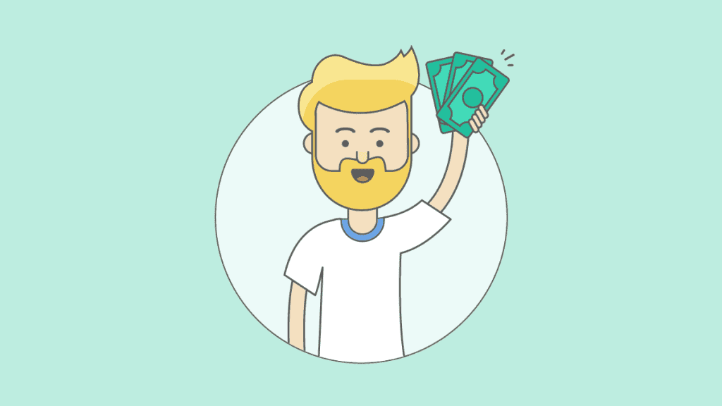 Guy holding money in the air