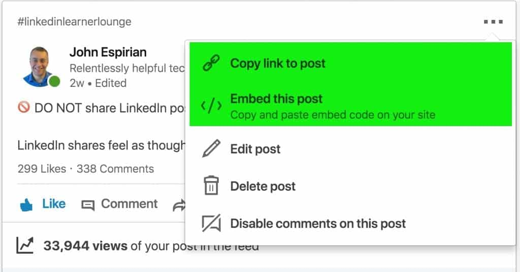 How to share and embed your LinkedIn posts