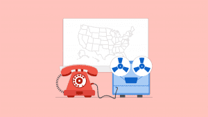Illustration of a vintage red phone hooked up to a light blue recording device and a map on the wall