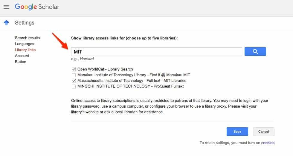 Library access links google scholar