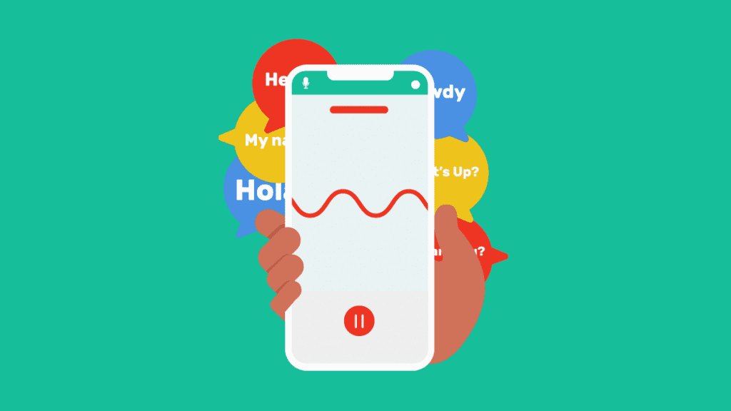 Hand holding up voice recorder app with illustrations of hello in various languages