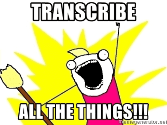 stick character shouting transcribe all the things meme