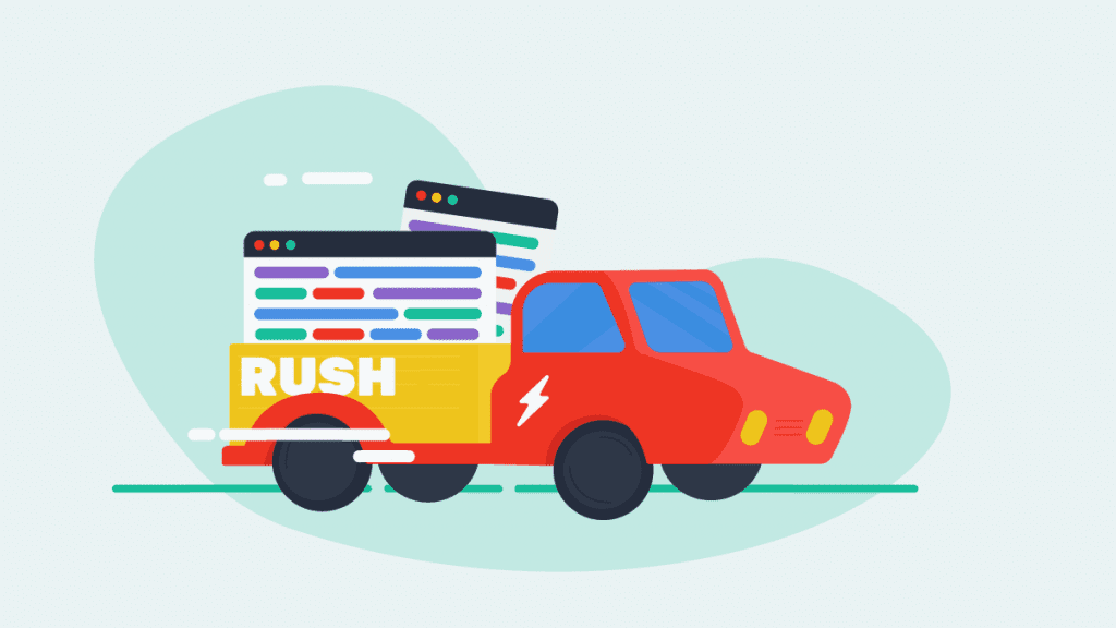 illustration of a truck carrying lots of transcripts for rush delivery
