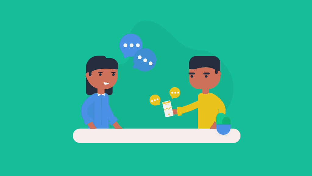 illustration of a boy interviewing a girl and recording her answers on his phone using Rev Voice Recorder