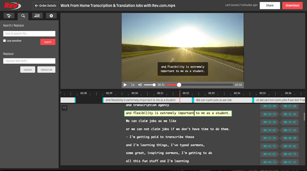 screenshot of rev's captions editor