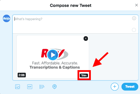 screenshot of twitter compose new tweet box with red arrow pointing to trim