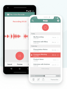 Rev voice recording app on iphone and android