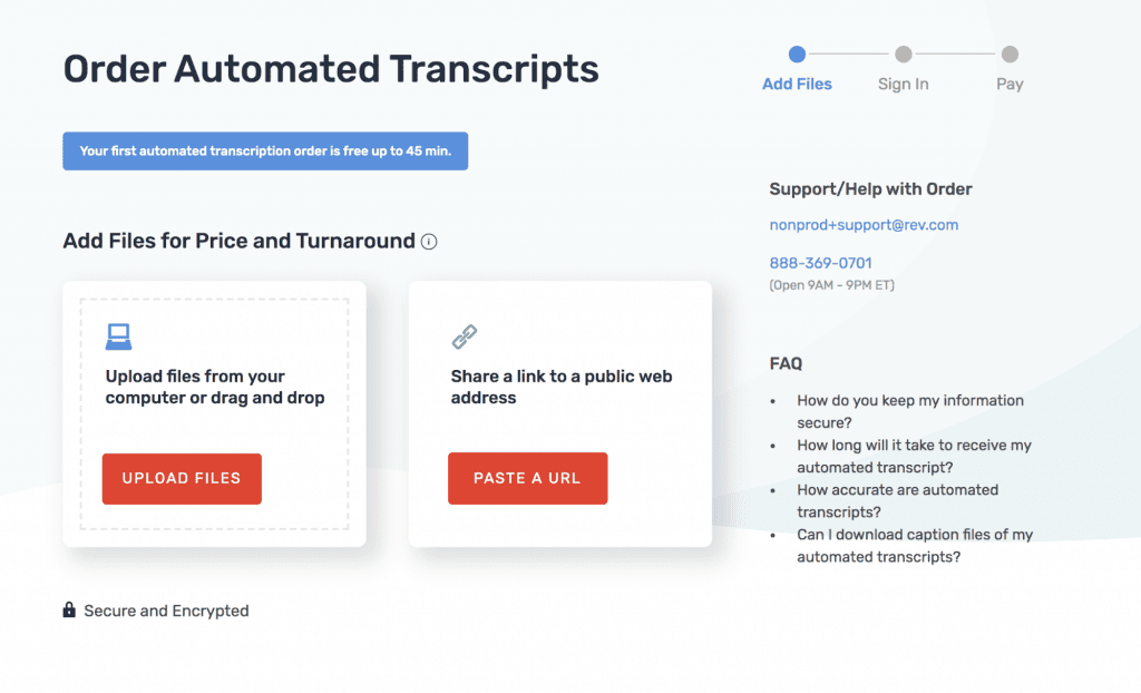 Try Rev's Automated Transcription for Free