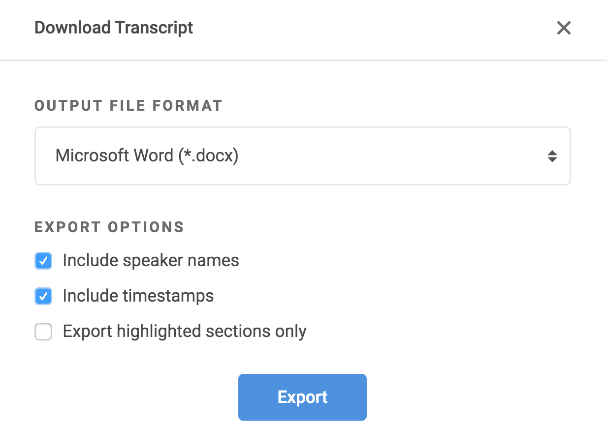 Export Transcript Timecodes