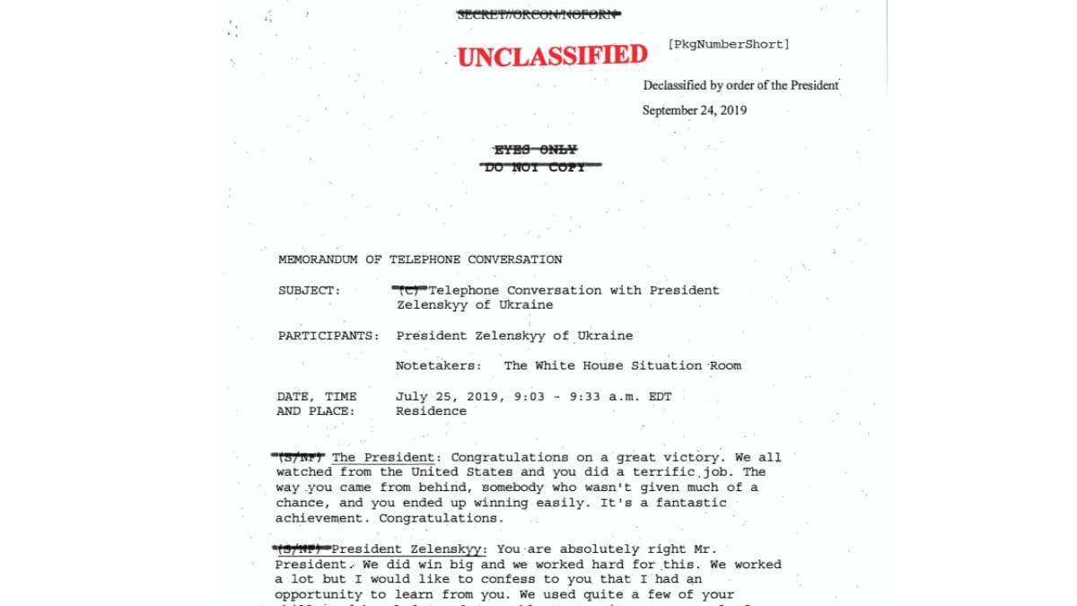Trump Zelensky Phone Call Transcript Ukraine President