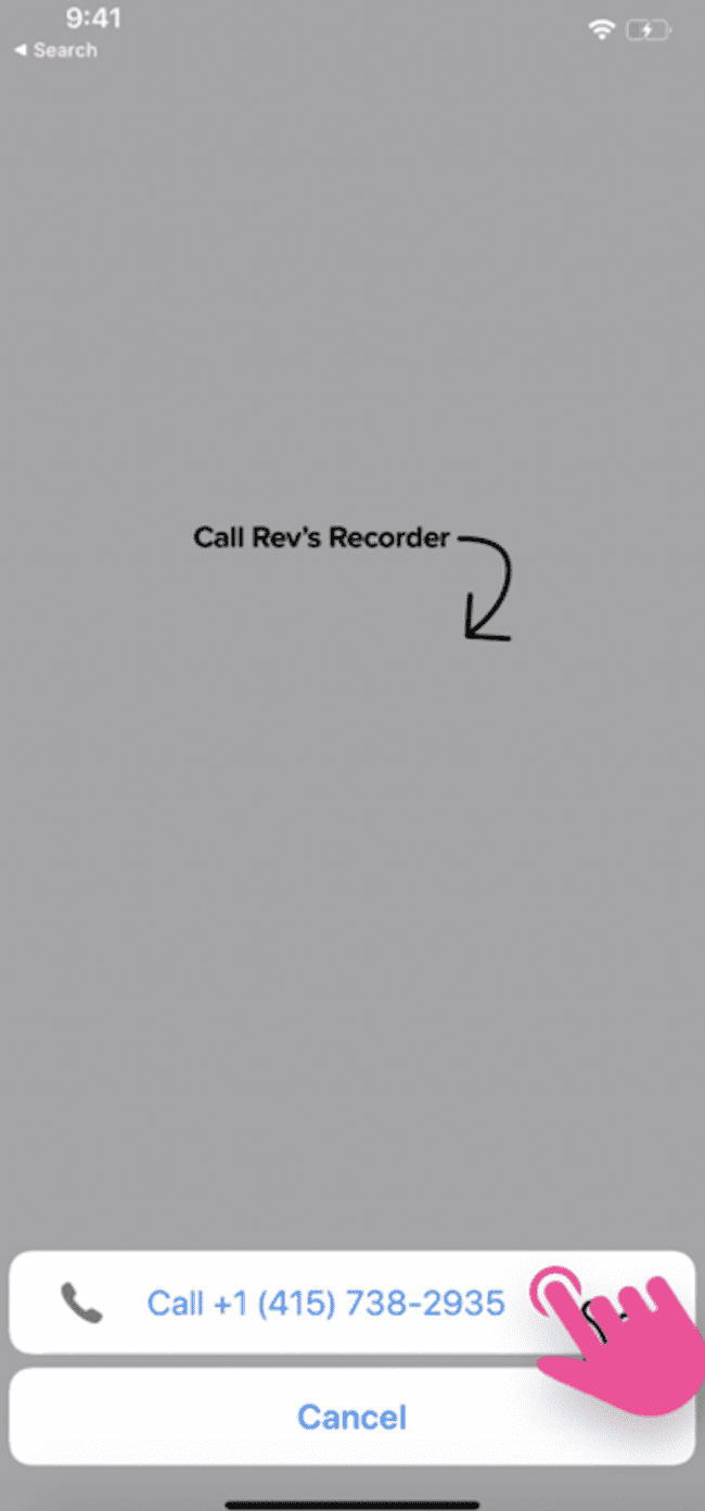 screenshot example of how to connect call to Rev's recording line on Rev Call Recorder app