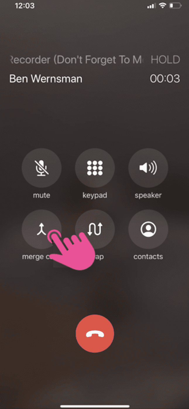 screenshot example of how to merge calls on Rev Call Recorder app