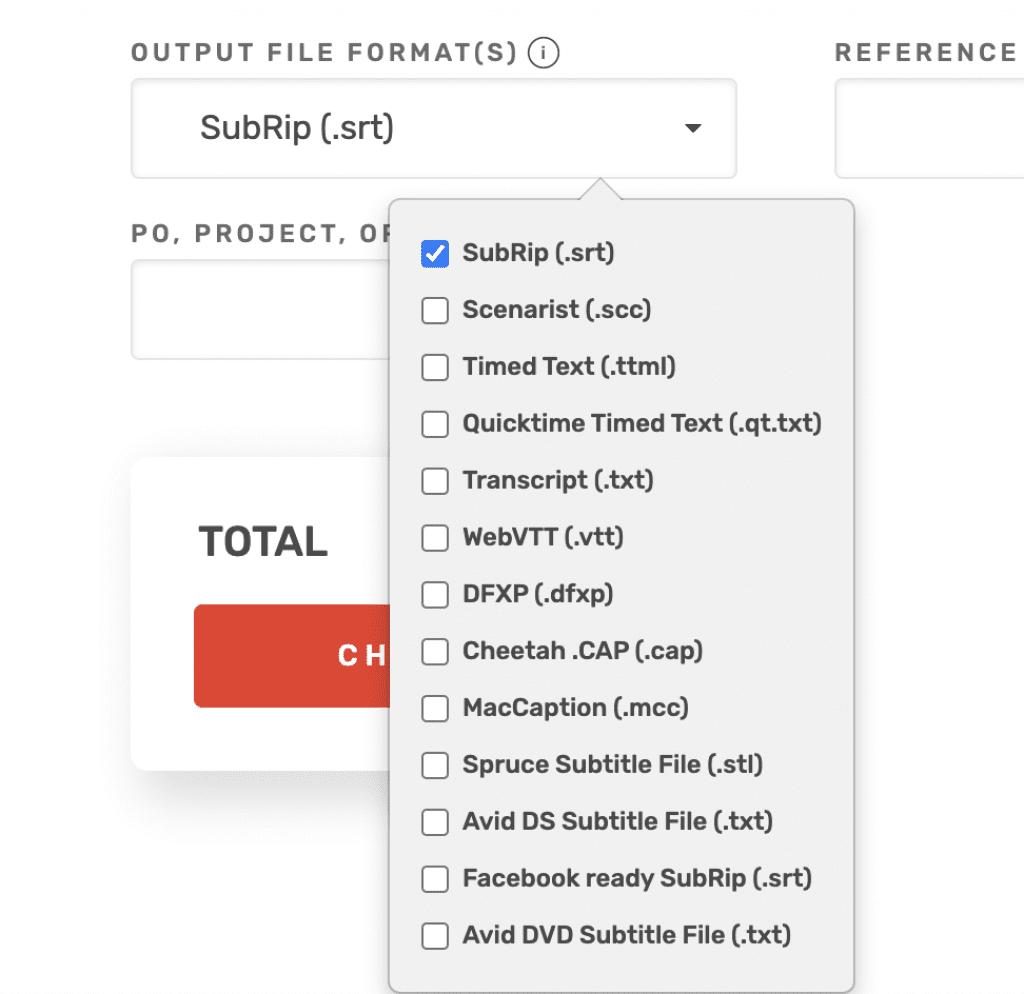 Rev Caption Output File Format