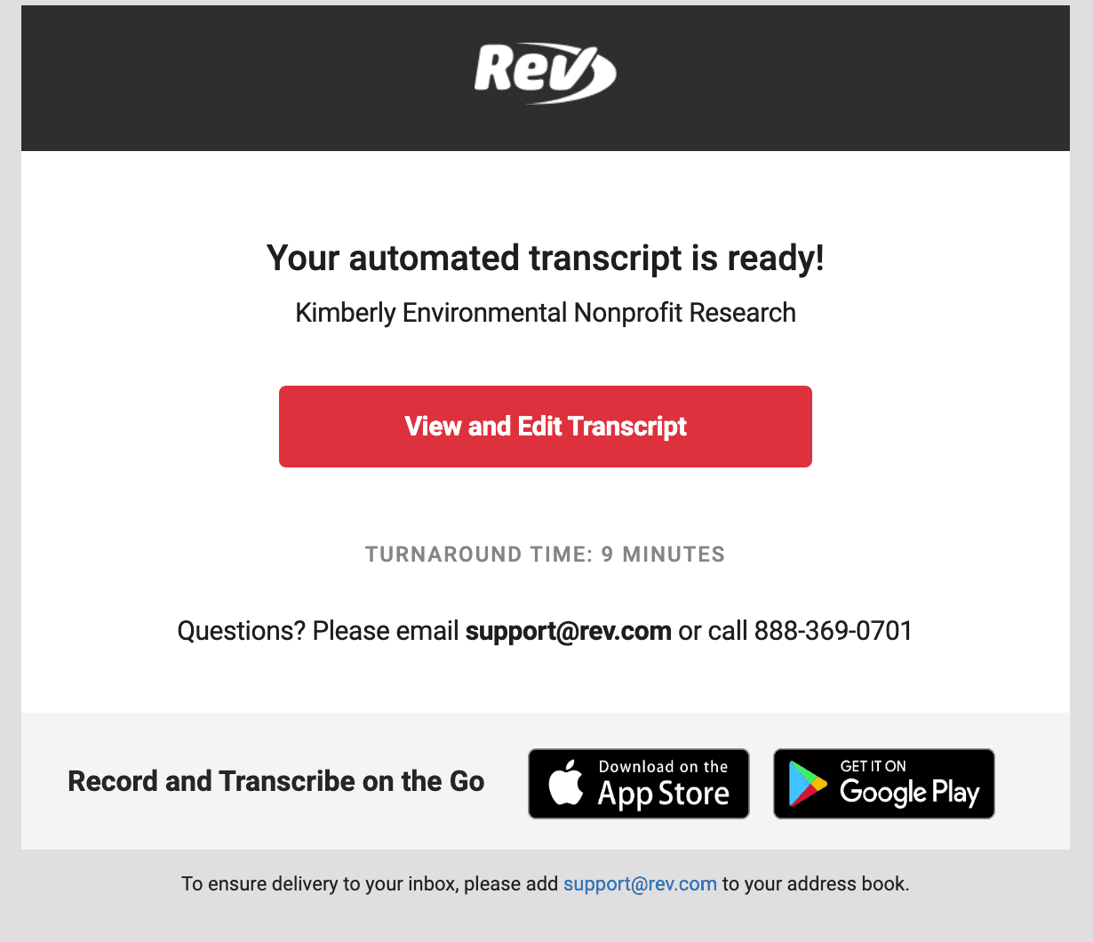 Automatic transcript delivery view and edit transcript rev.com