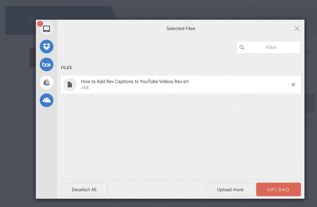 Rev Caption Converter Upload