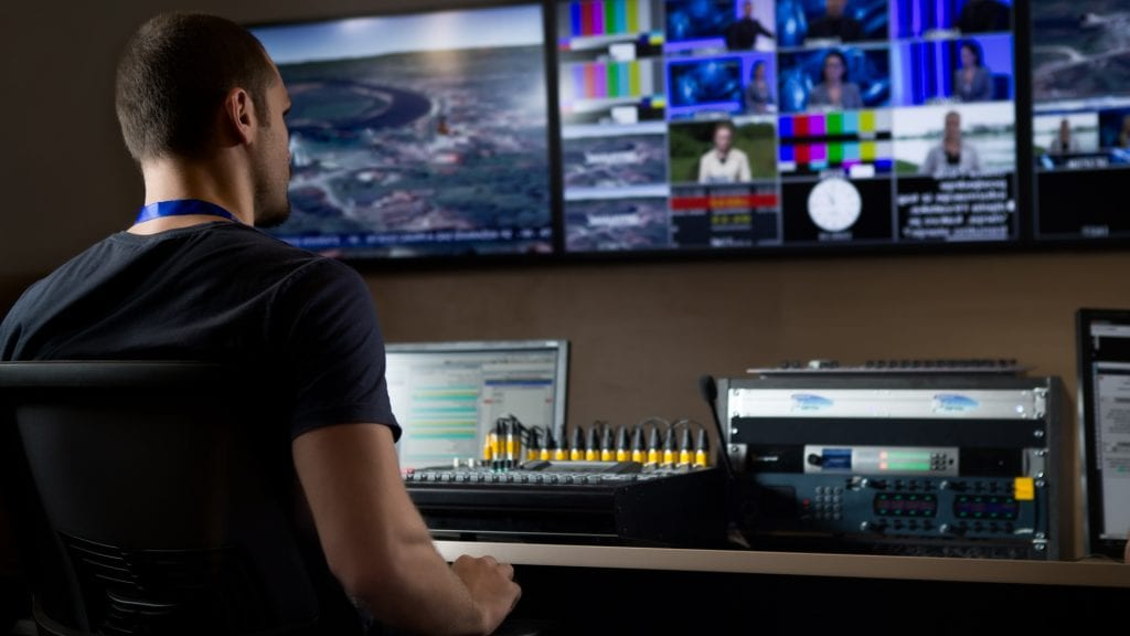 TV Studio Engineer Using Video Transcription Software