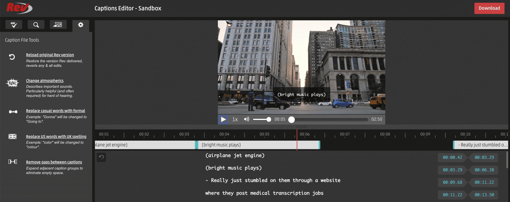 how to transcribe zoom videos, rev captions sandbox editor