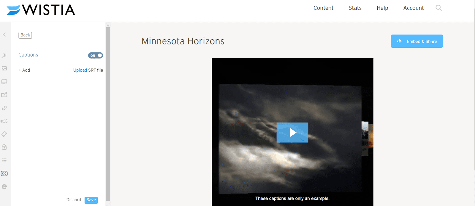 Click on the blue Upload link directly under the toggle switch in Wistia