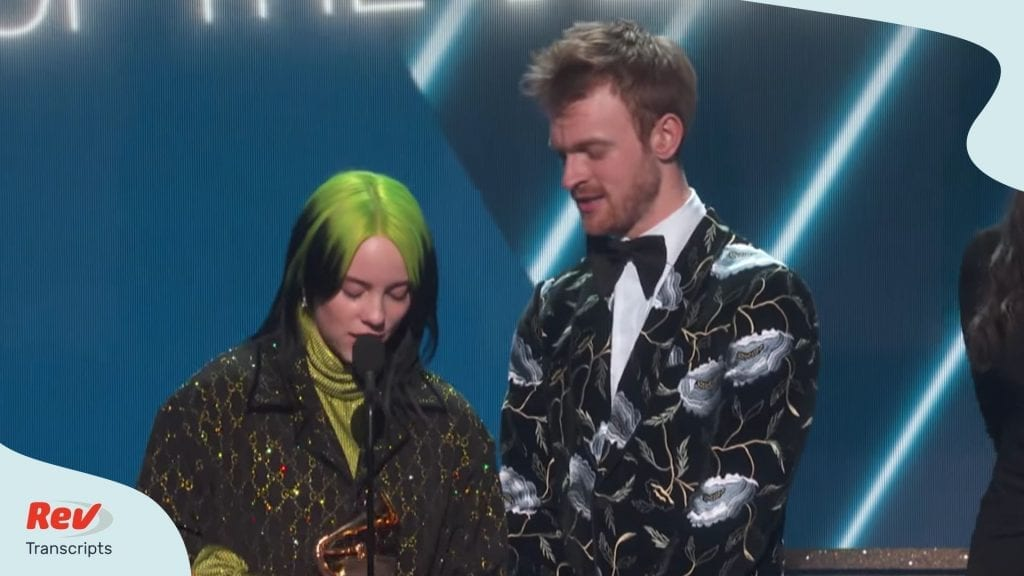 Billie Eilish Grammy Acceptance Speech Transcript - 2020 Grammys