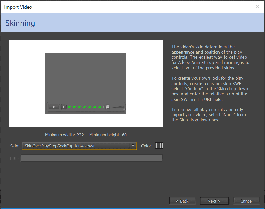 Selecting a skin in Adobe Animate Flash
