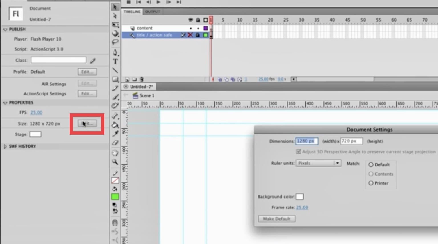 Click on Edit in Properties and open the stage's Document Properties Adobe Animate Flash