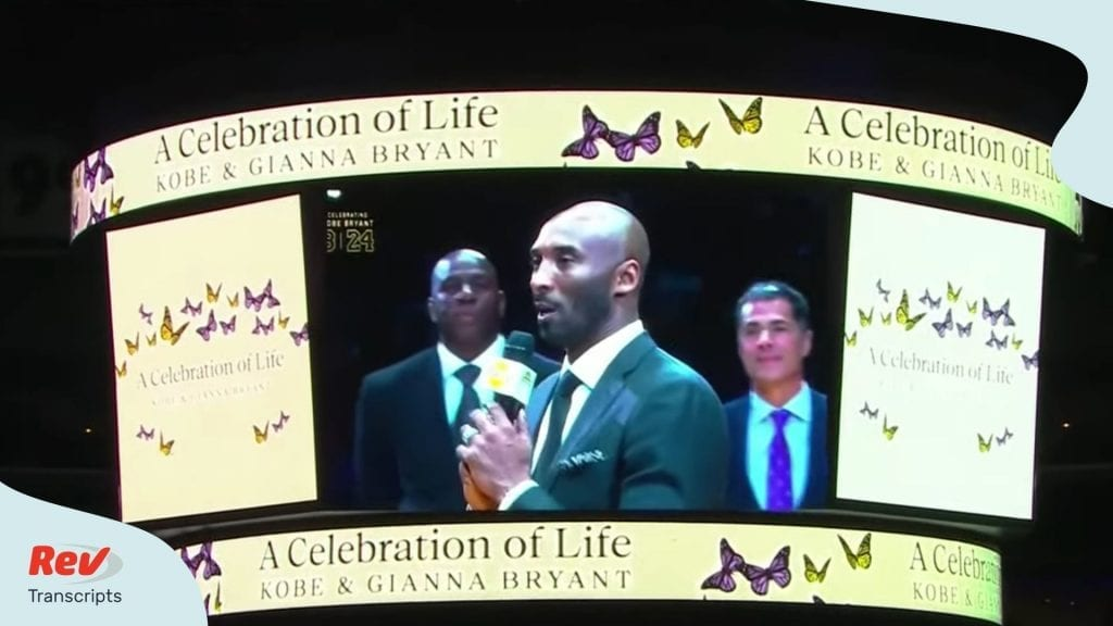 Kobe Bryant Gianna Memorial Transcript Jordan, Shaq, Kimmel, Beyonce and more