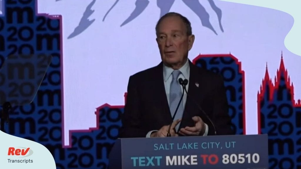 Mike Bloomberg Salt Lake City Rally Speech Transcript