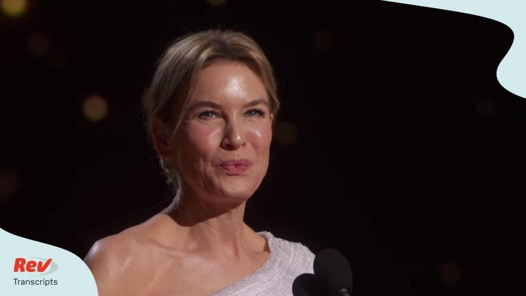 Renée Zellweger Oscar Acceptance Speech Transcript