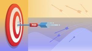 Illustration of Rev branded dart hitting a bullseye on a dart board