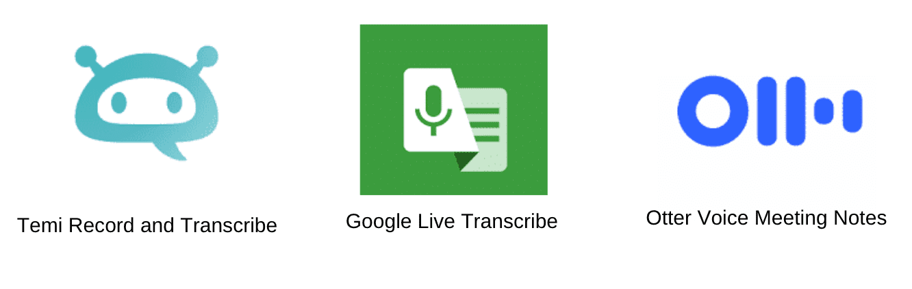 Icons for the Temi Record and Transcribe vs. Google Live Transcribe vs. Otter Voice Meeting Notes apps