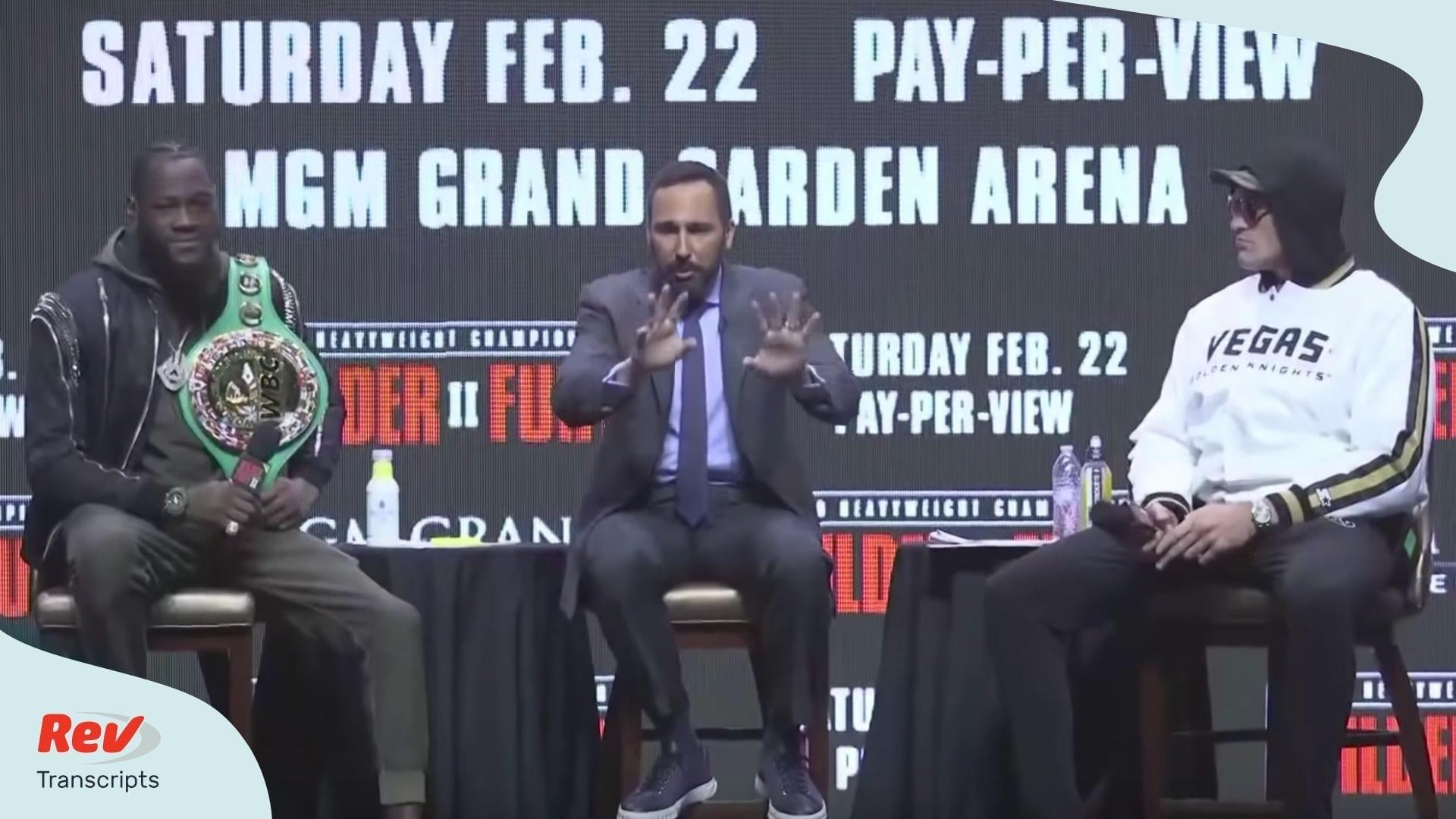 Wilder v Fury 2 Press Conference Transcript