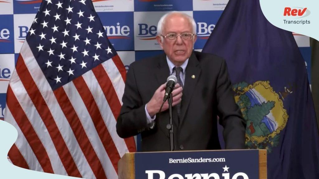 Bernie Sanders Coronavirus Speech Transcript