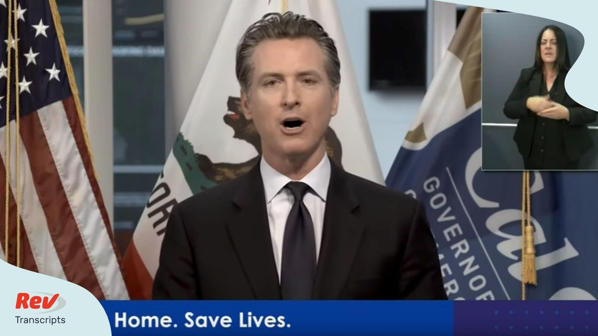 Gavin Newsom California Press Conference Tranacript March 30