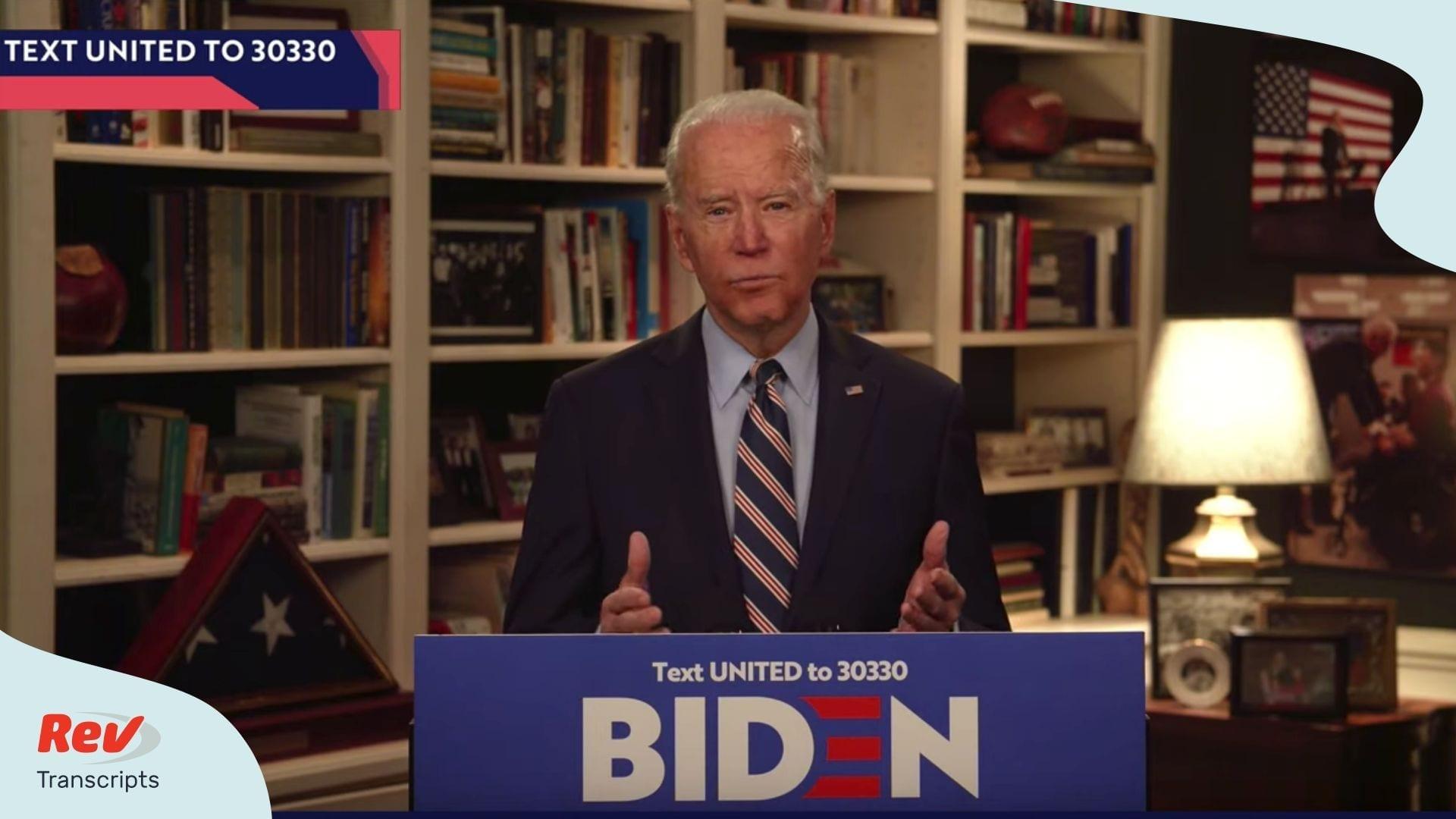 Joe Biden YouTube Speech Transcript March 23 Coronavirus