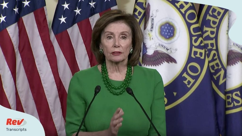Nancy Pelosi Press Conference Transcript Coronavirus